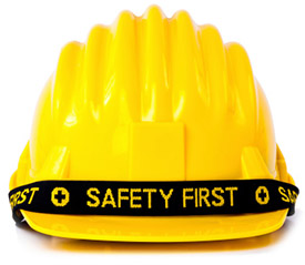 """Hard hat with """"Safety First"""" text"""